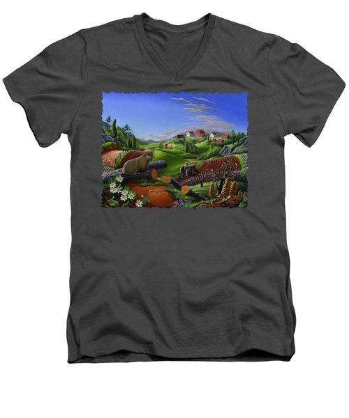 Farm Folk Art - Groundhog Spring Appalachia Landscape - Rural Country Americana - Woodchuck Men's V-Neck T-Shirt
