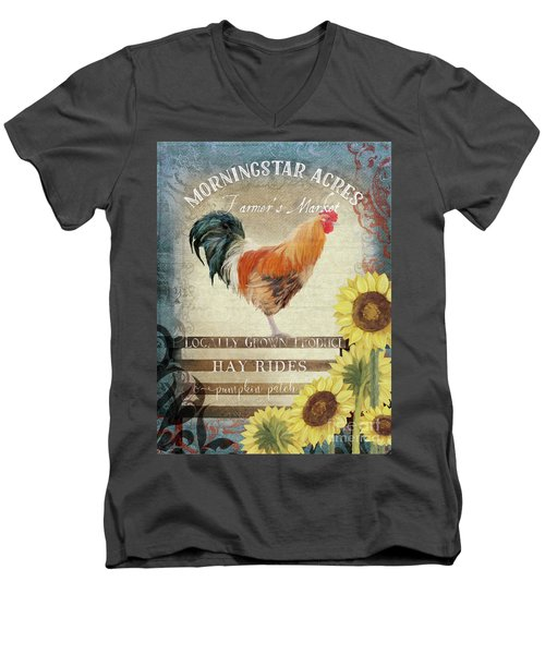 Men's V-Neck T-Shirt featuring the painting Farm Fresh Morning Rooster Sunflowers Farmhouse Country Chic by Audrey Jeanne Roberts