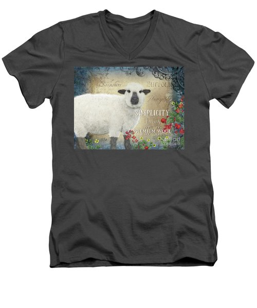 Men's V-Neck T-Shirt featuring the painting Farm Fresh Sheep Lamb Wool Farmhouse Chic  by Audrey Jeanne Roberts