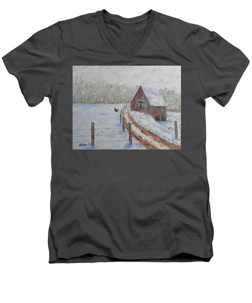 Farm Land Men's V-Neck T-Shirt by Stanton Allaben