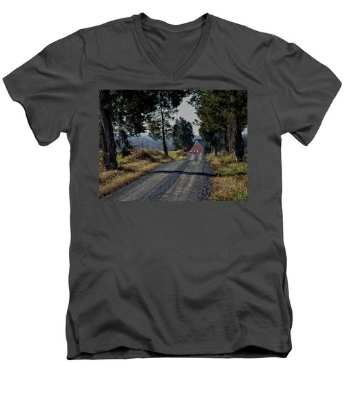 Men's V-Neck T-Shirt featuring the photograph Farm Lane by Robert Geary