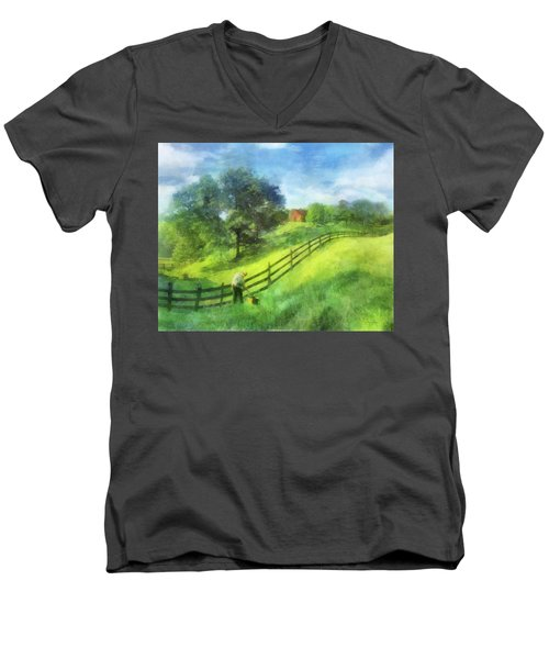 Farm On The Hill Men's V-Neck T-Shirt