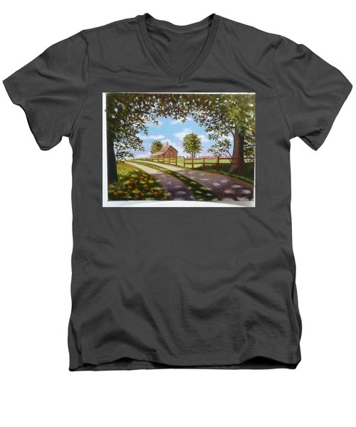 Farmhouse Framed By Trees Men's V-Neck T-Shirt