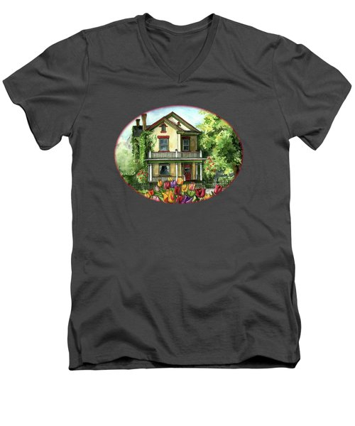 Farmhouse With Spring Tulips Men's V-Neck T-Shirt by Shelley Wallace Ylst