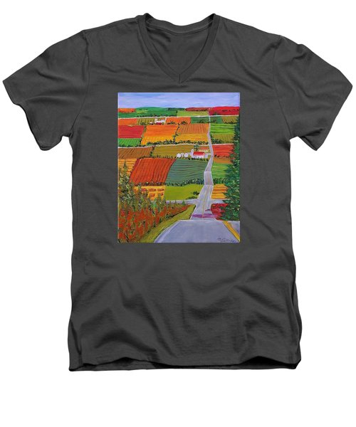 Country Farmland Quilt Men's V-Neck T-Shirt by Mike Caitham