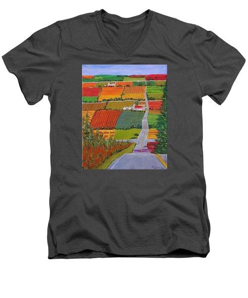Country Farmland Quilt Men's V-Neck T-Shirt