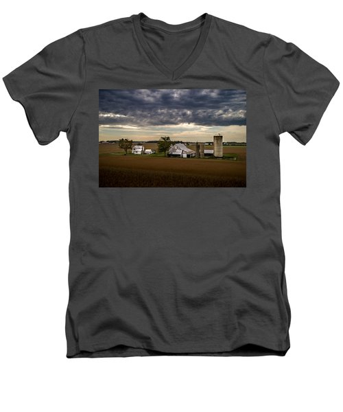 Farmstead Under Clouds Men's V-Neck T-Shirt