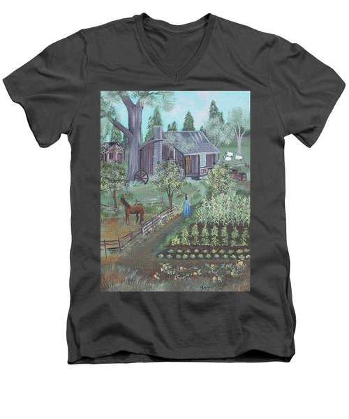 Men's V-Neck T-Shirt featuring the painting Farmstead by Virginia Coyle