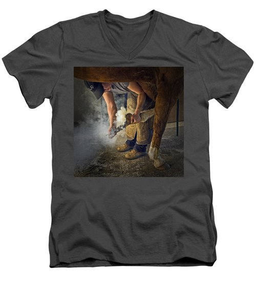 Farrier Visit - 365-46 Men's V-Neck T-Shirt by Inge Riis McDonald