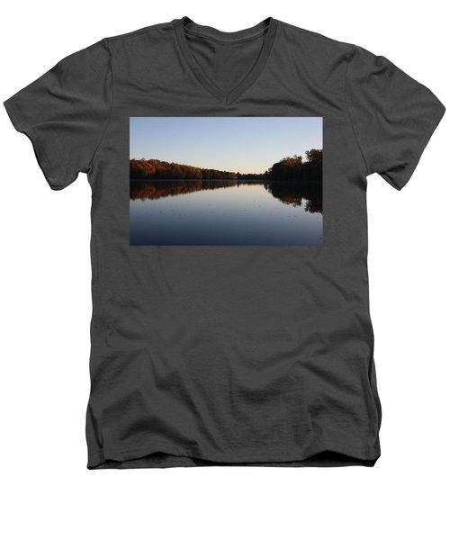 Men's V-Neck T-Shirt featuring the photograph Farrington Lake Autumn by Vadim Levin