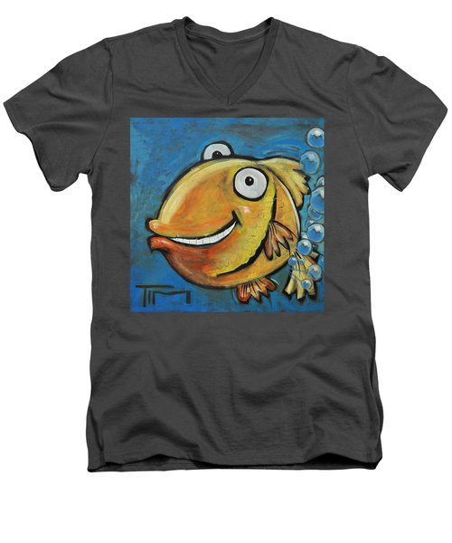 Farting Fish Men's V-Neck T-Shirt