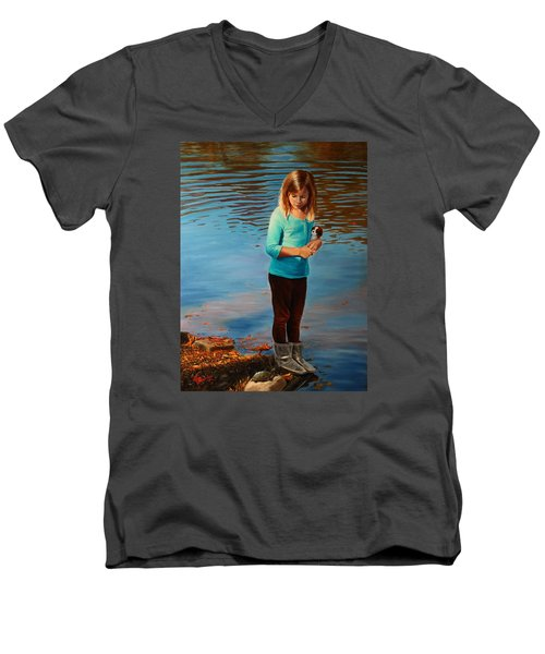 Men's V-Neck T-Shirt featuring the painting Fast Friends by Glenn Beasley