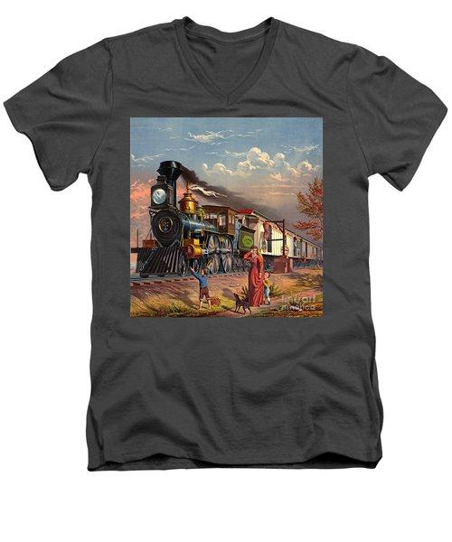 Fast Mail 1875 Men's V-Neck T-Shirt by Padre Art