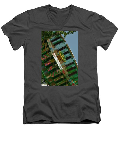Men's V-Neck T-Shirt featuring the photograph Faster And Faster We Go by Ramona Whiteaker