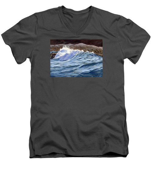 Men's V-Neck T-Shirt featuring the painting Fat Wave by Lawrence Dyer
