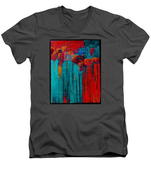 Waterfall Men's V-Neck T-Shirt by Nancy Jolley