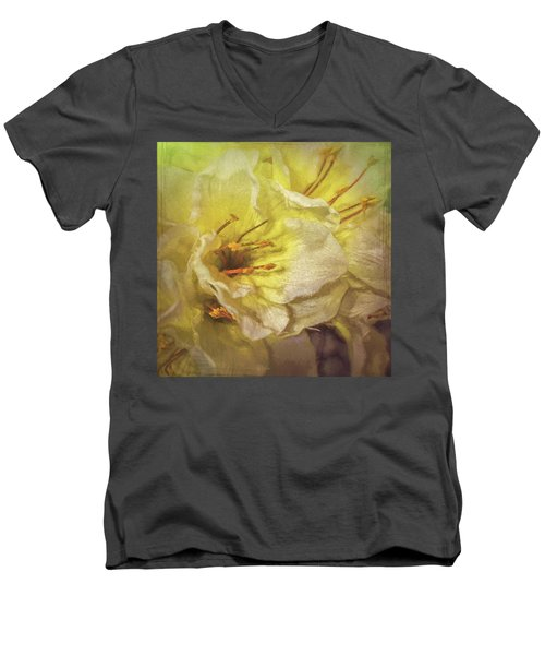 Men's V-Neck T-Shirt featuring the photograph Faux Flowers by Lewis Mann