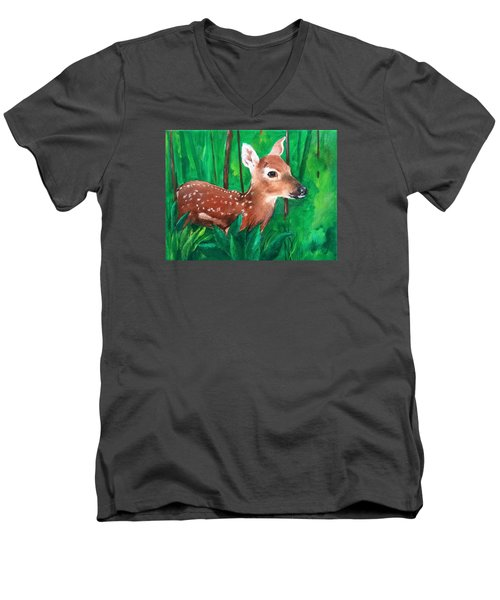 Men's V-Neck T-Shirt featuring the painting Fawn by Ellen Canfield
