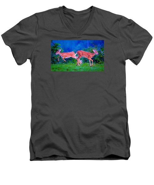 Men's V-Neck T-Shirt featuring the photograph Fawn Frolic by Brian Stevens