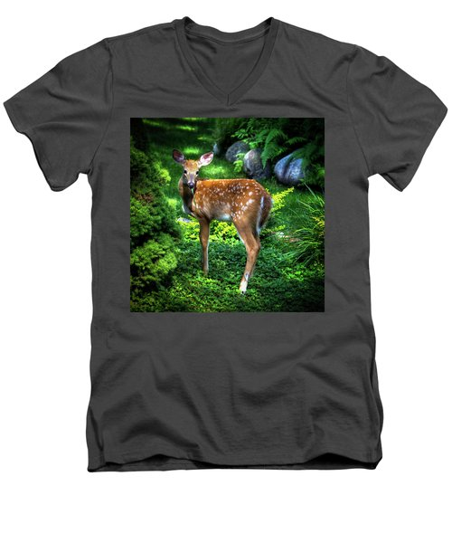 Men's V-Neck T-Shirt featuring the photograph Fawn In The Garden by David Patterson
