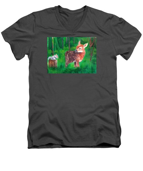 Men's V-Neck T-Shirt featuring the painting Fawn With Squirrel by Ellen Canfield