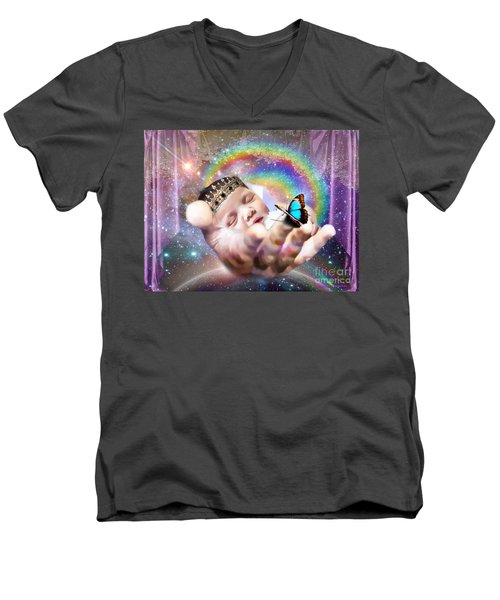 Men's V-Neck T-Shirt featuring the digital art Fearfully And Wonderfully Created by Dolores Develde