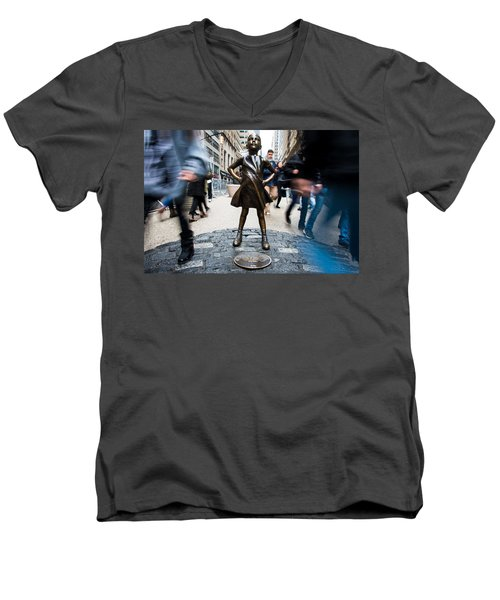 Men's V-Neck T-Shirt featuring the photograph Fearless Girl by Stephen Holst