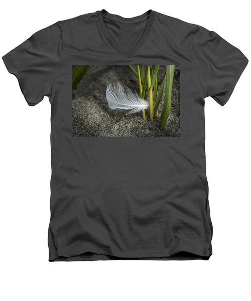 Feather And Beach Grass Men's V-Neck T-Shirt