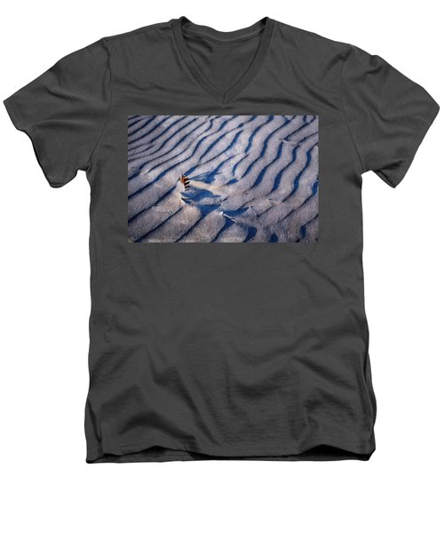 Men's V-Neck T-Shirt featuring the photograph Feather In Sand by Michelle Calkins