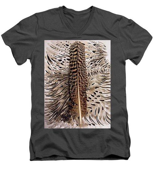 Feather Men's V-Neck T-Shirt by Nancy Kane Chapman