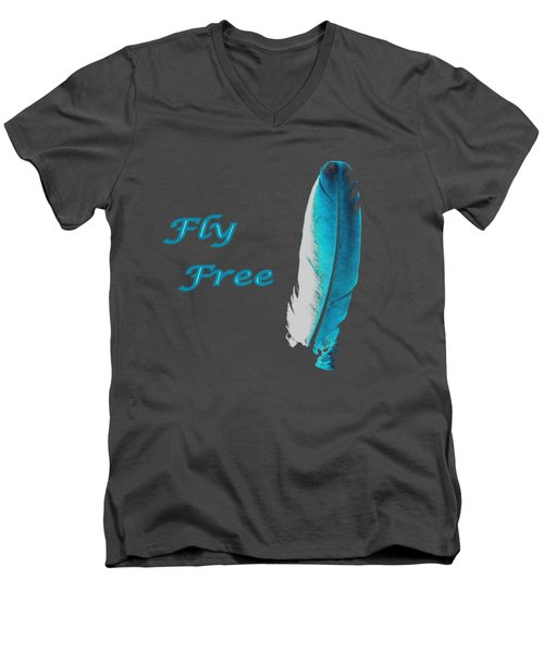 Men's V-Neck T-Shirt featuring the digital art Feather Of Free Flight by Aliceann Carlton