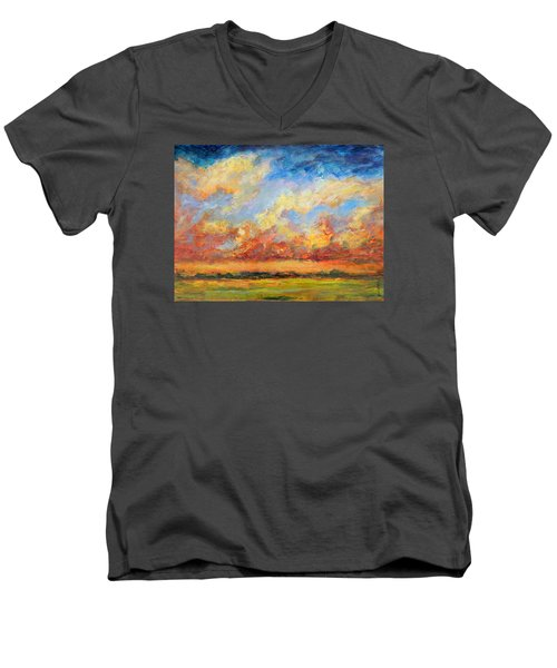 Feathered Sky Men's V-Neck T-Shirt by Mary Schiros