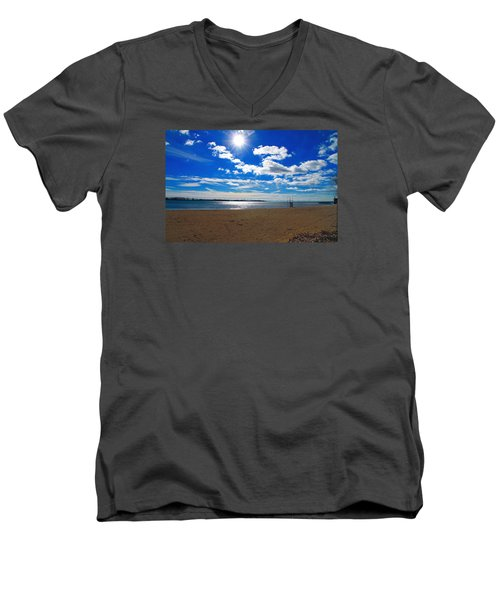 Men's V-Neck T-Shirt featuring the photograph February Blue by Valentino Visentini