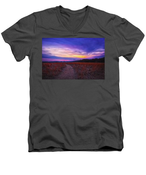 Men's V-Neck T-Shirt featuring the photograph February Sunset And Path At Retzer Nature Center by Jennifer Rondinelli Reilly - Fine Art Photography