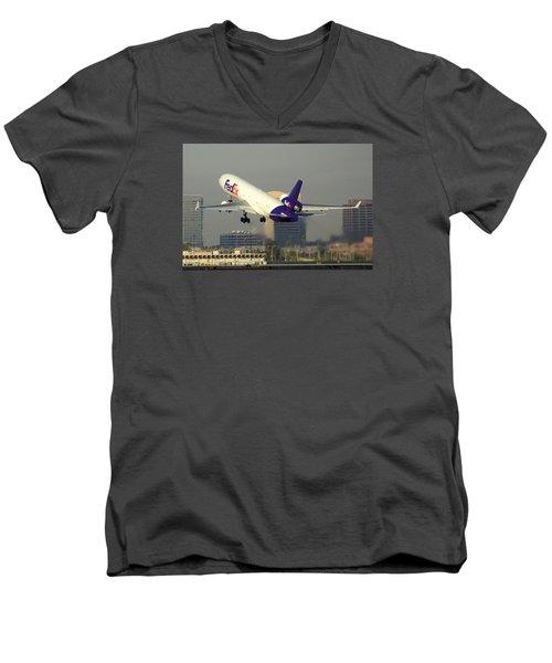 Fedex Express Mcdonnell-douglas Md-11f N631fe Phoenix Sky Harbor December 20 2015  Men's V-Neck T-Shirt by Brian Lockett