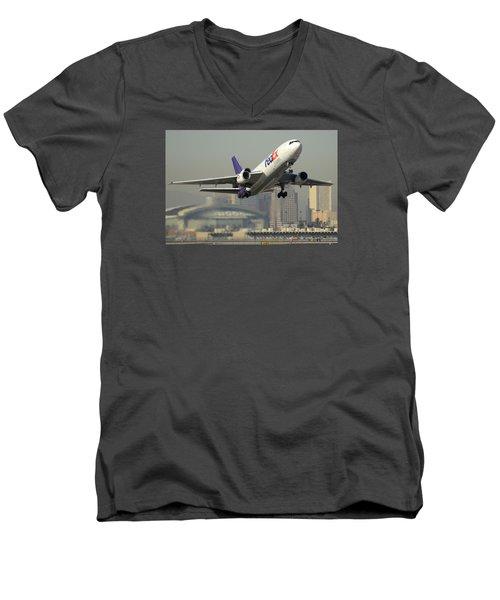 Fedex Express Md-10-10f N10060 Phoenix Sky Harbor December 2 2015 Men's V-Neck T-Shirt by Brian Lockett