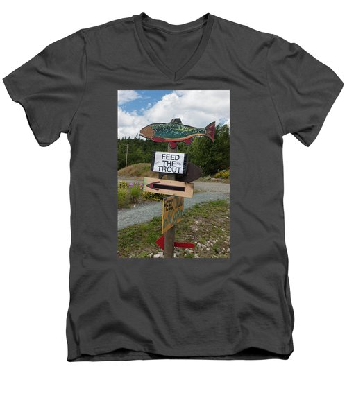 Men's V-Neck T-Shirt featuring the photograph Feed The Trout by Suzanne Gaff