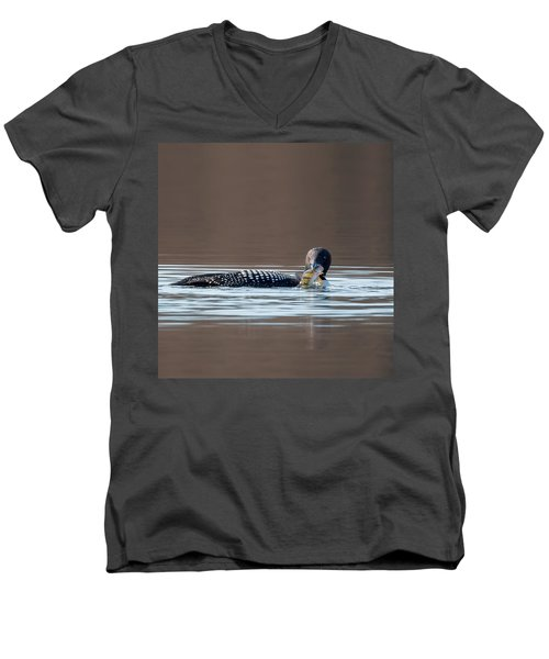 Feeding Common Loon Square Men's V-Neck T-Shirt by Bill Wakeley