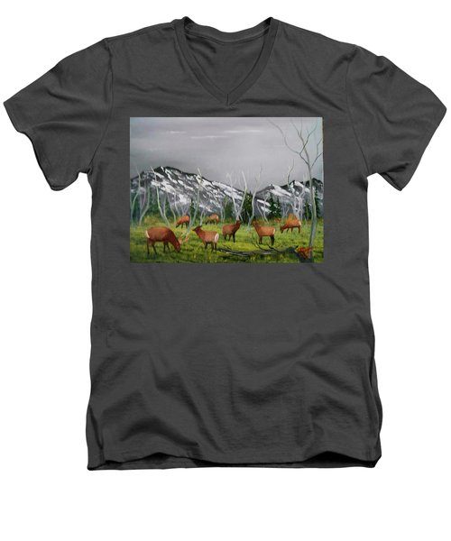 Feeding Elk Men's V-Neck T-Shirt by Al Johannessen
