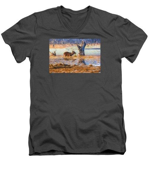 Feeding In The Lake Men's V-Neck T-Shirt by Pravine Chester
