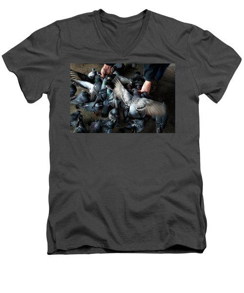 Feeding Men's V-Neck T-Shirt by James David Phenicie