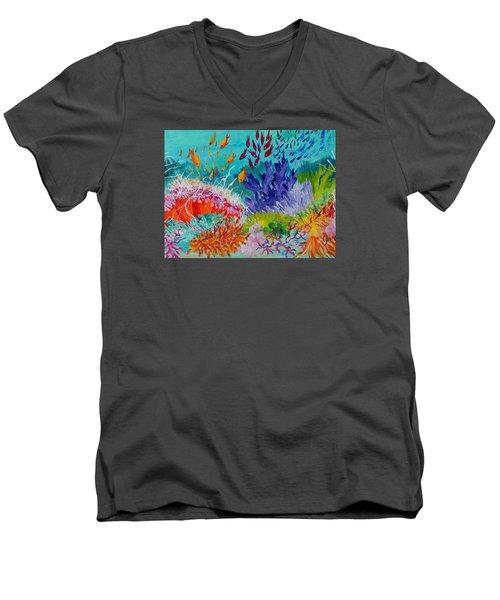 Feeding Time On The Reef #2 Men's V-Neck T-Shirt by Lyn Olsen