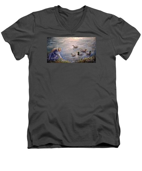 Men's V-Neck T-Shirt featuring the painting Feeding Time by Patricia Schneider Mitchell