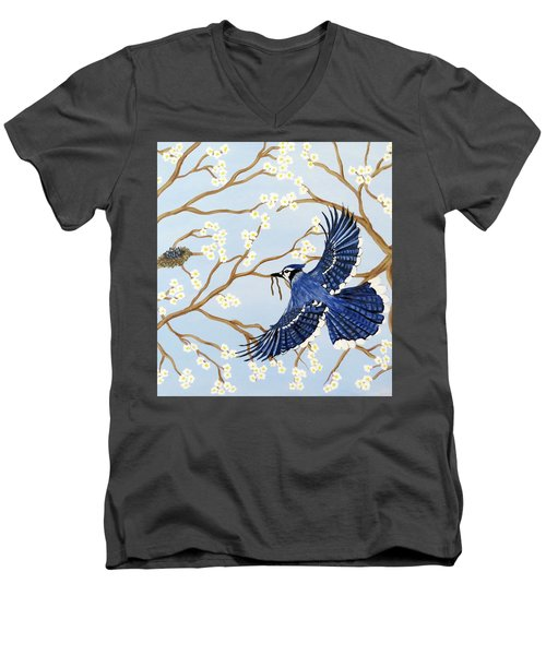 Men's V-Neck T-Shirt featuring the painting Feeding Time by Teresa Wing