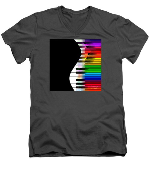 Men's V-Neck T-Shirt featuring the digital art Feel The Music by Klara Acel