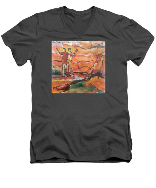 Feel The Warm Men's V-Neck T-Shirt by Becky Chappell