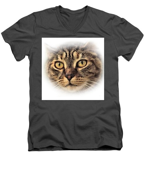 Men's V-Neck T-Shirt featuring the photograph Feline by Debbie Stahre