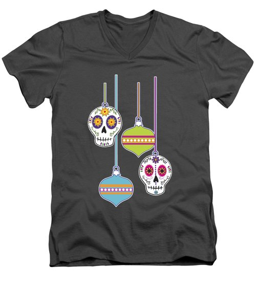 Feliz Navidad Holiday Sugar Skulls Men's V-Neck T-Shirt by Tammy Wetzel