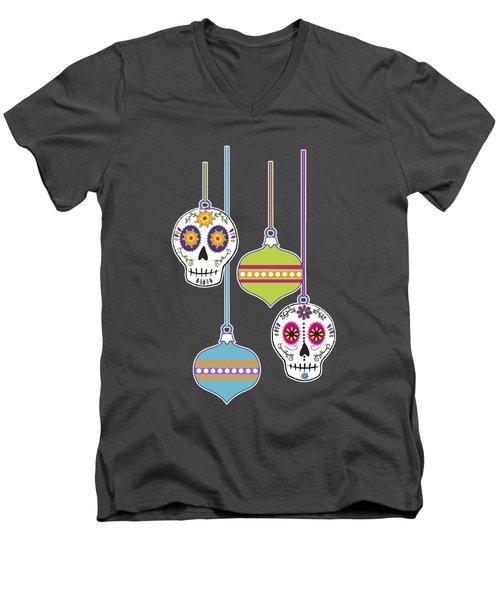 Feliz Navidad Holiday Sugar Skulls Men's V-Neck T-Shirt