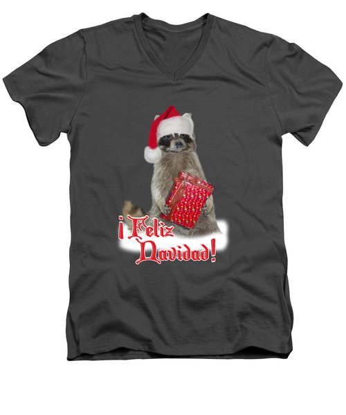 Feliz Navidad - Raccoon Men's V-Neck T-Shirt